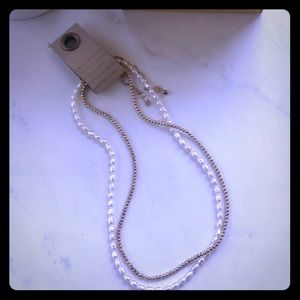 Dual Pearl and Chain Necklace- Anthropologie, NWT!
